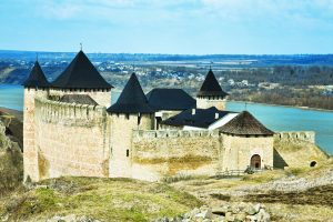 Khotyn fortress and castle on the bank of Dnister river in Ukraine